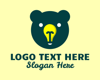 Grizzly - Bear Head Light logo design