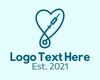 Dextrose - Blue Medical Syringe  logo design