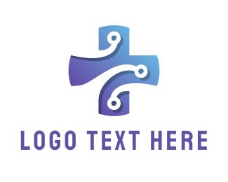 Cross - Medical Tech Circuit Cross logo design