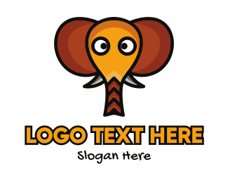 Pink Elephant - Cute Elephant Head logo design