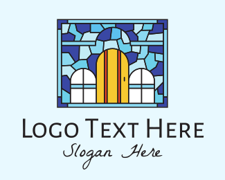 Party Needs - Decorative House Stained Glass logo design