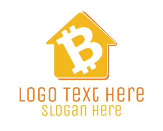 """Yellow Bitcoin House"" by LogoBrainstorm"