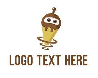 Broadcast - Robot Ice Cream logo design