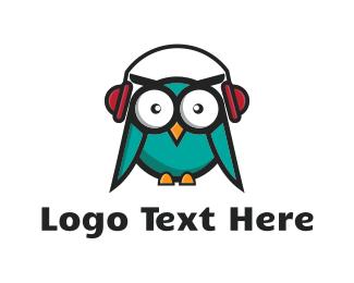 Headphone - DJ Owl logo design