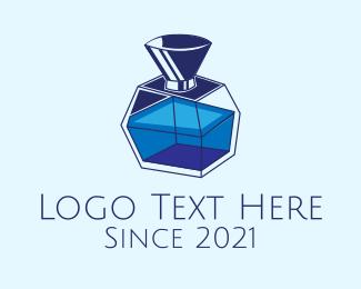Lotion - Blue Perfume Bottle logo design