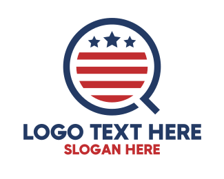 Us - American Q Flag  logo design