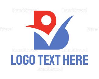Checklist - Red Blue Check B logo design
