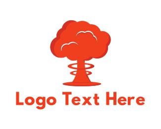 Explosive - Mushroom Cloud logo design