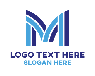 Barbershop - Stripe M Tech logo design