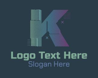K - Modern Glitch Letter K logo design