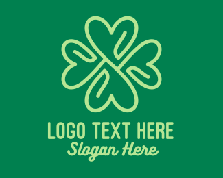 Saint Patrick - Green Heart Clover  logo design