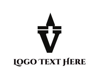 Five - Black Letter V logo design
