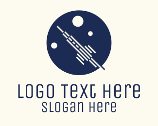 Space Station - Rocket Launch Circle logo design