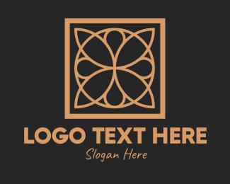 Interior Decorator - Elegant Floral Tile Pattern  logo design