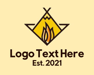 Camping Site - Fire Camping Adventure logo design