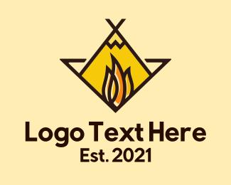 Backpacker - Fire Camping Adventure logo design