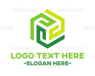 Tagline - Green Modern Hexagon logo design