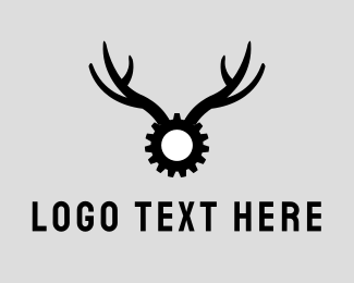 Black Moose - Gear Antlers logo design