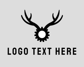 Mechanical - Gear Antlers logo design