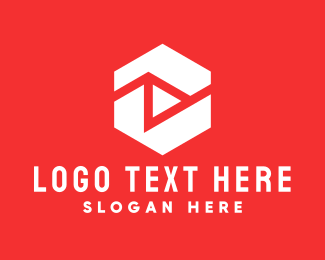 Media Player - White Hexagon Media Player logo design