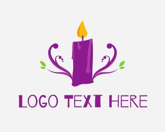 Candle - Purple Candle logo design