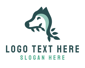 Blue Dog - Blue Leaf Dog logo design