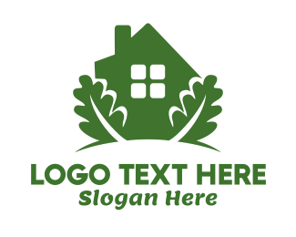 Green House - Green House & Leaves logo design