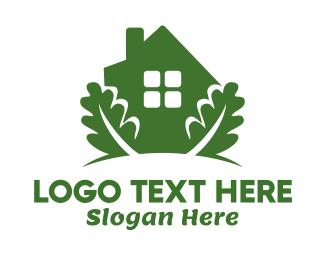 Hut - Green House & Leaves logo design