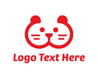 Pet Store - Red Animal Face logo design