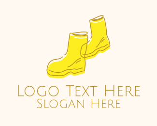 Leg - Simple Yellow Rain Boots logo design