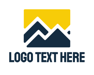 Hiking - Yellow Blue Mountain logo design