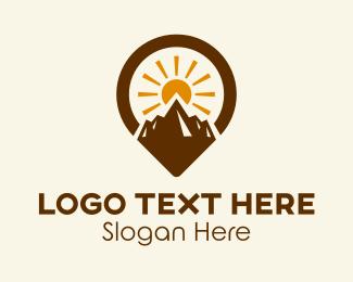 Backpacker - Mountain Sunrise Location  logo design