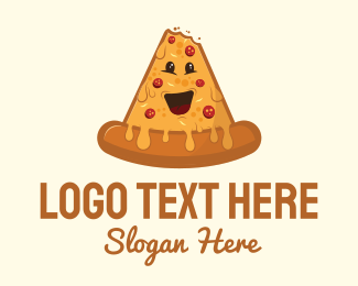 Pepperoni Pizza - Cheesy Pizza Mascot logo design