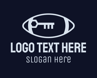 Unlock - Grey Football Key logo design
