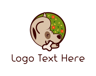 Bone - Cute Brown Dog logo design