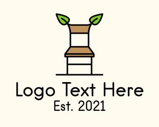 Wooden - Organic Wooden Chair logo design