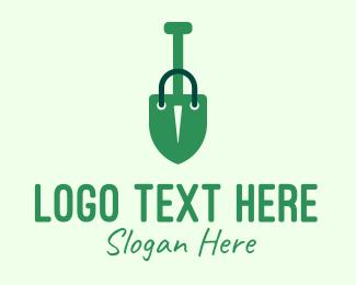 Paper Bag - Green Shovel Shopping Bag logo design
