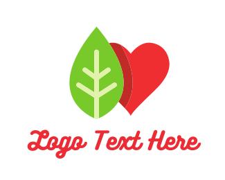 Organic - Gree Leaf & Red Heart logo design
