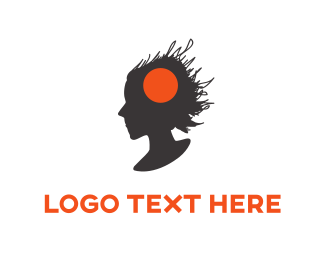 Brain - Woman Silhouette logo design