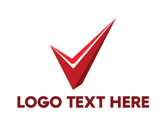 Tick - Red Abstract Check logo design