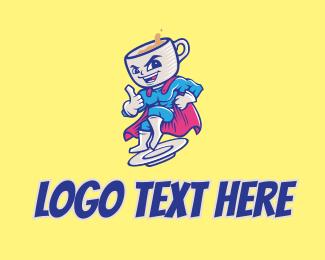 Coffee Superhero Hero  Logo
