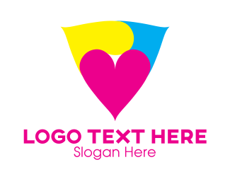 Printer - Heart Triangle logo design