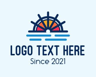 Voyage - Marine Sunset Wheel logo design