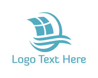 Sail - Blue Sailing Boat logo design