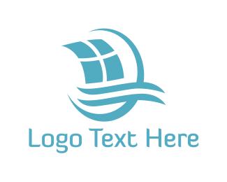 Sailboat - Blue Sailing Boat logo design
