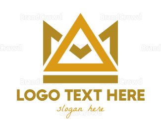 Triangle - Gold Triangle Crown  logo design