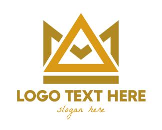 Gold - Gold Triangle Crown logo design