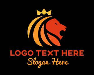 Lion King - Multicolor Crown Lion  logo design