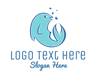 Oceanic - Happy Fish logo design