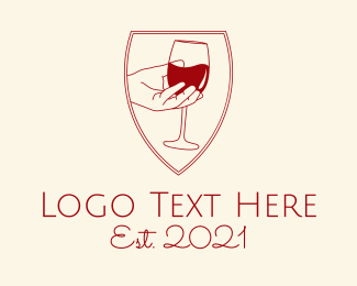 Vintage - Wine Hand Bar logo design